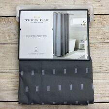 "Threshold Geometric 100% Cotton Shower Curtain Gray w/ White Print 72"" x 72"""