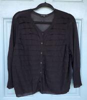 Eileen Fisher Women's XL Black Button Down Long Sleeve Cardigan Ruffle Detail