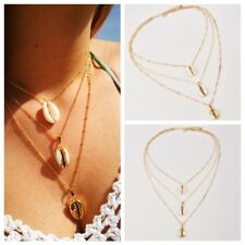 Gold White Color Shell Necklaces Chain Mutil-Layer Necklace Women Lovely Jewelry