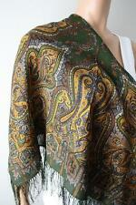 Russian Pavlovo Posad Shawl 100% wool with silk fringe 35x35inhes 1155-10