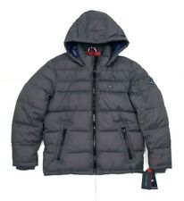 Tommy Hilfiger Mens Quilted Puffer Hooded Down Jacket Charcoal Grey Size Large