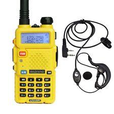 Baofeng UV-5R Yellow Dual Band 136-174/400-520MHz 2 Way FM Radio + Earpiece US