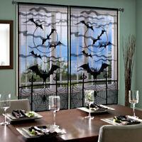 OurWarm Black Lace Spider Web Window Panel Bat Lace kitchen Door Halloween Decor