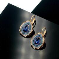 Boucles d'Oreilles Dormeuse Doré Goutte Mini Perle Bleu Marine  Retro EE10
