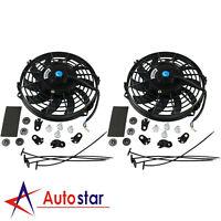 "2pcs 9"" Universal Slim Fan Push Pull Electric Radiator Cooling 12V Mount Kit"