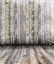 White Sparkle BOKEH LUCI su grigio in legno sfondo in Vinile Photo Pro 5X7FT 150x220CM