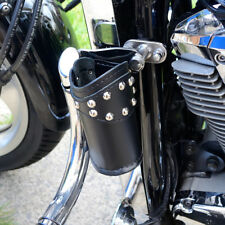 MOTORCYCLE BIKER CUSTOM LEATHER CUP DRINK CAN BOTTLE HOLDER WITH RIVETS GIFT