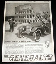1920 OLD MAGAZINE PRINT AD, GENERAL CORD TIRE, BALLANTYNE ROMAN COLOSSEUM ART!