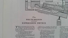 Tubing Chart for The Welte-Mignon Expression Device Grand & Upright Player Piano