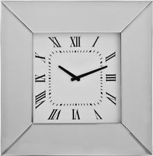 Modern Plain Mirror Frame Glass Bevelled Square Wall Clock 50cm Silver
