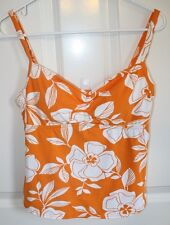 Lands End Tankini 10 Swimsuit Top Orange White Floral Soft Cup