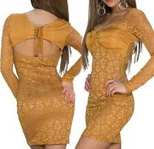 SeXy Miss Damen Spitze Mini Kleid Party Bustier Stretch Dress 34/36/38 Gold Cara