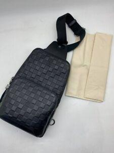 LUUIS VUITTON Avenue Leather Damier Infini Sling Bag Men's Black Crossbody