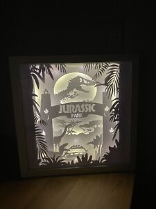 Jurassic Park Shadow Box Light Dino Picture Light Up Handmade Craft Homemade