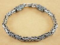 "New Handmade Byzantine Bali 925 Sterling Silver Bracelet Chain 4mm 7"" 19g"