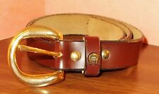 """Women's Belt - Faux Leather - Brown  - Adjusts from 26"""" to 30""""  - Horseshoe Trim"""