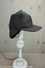 UGG BROWN LEATHER BASEBALL  HAT cap SHEEPSKIN LINED EARFLAPS MENS SIZE S/M  NWT