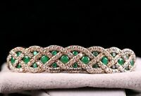 Turkish Jewelry Handmade 925 Sterling Silver Green Emerald Bracelet Bangle Cuff8