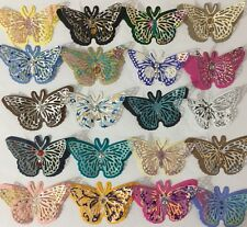 FANCY BUTTERFLY Pre-Made Die-Cuts (3pc)Victorian•Steampunk•Filagree •Glittered••