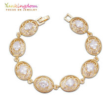 Hot Sale Clear Oval Cubic Zircon Gold Plated Lady Party Bracelet Hand Jewelry