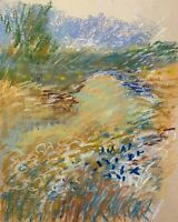 VINTAGE IMPRESSIONIST ABSTRACT PASTEL LANDSCAPE STUDY DRAWING SKETCH