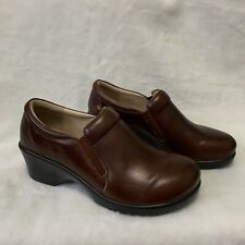 Alegria Brown Slip Resistant Leather Clogs Womens Size 39