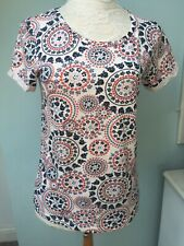 Morroccan Print Dorothy Perkins Tshirt Top Shirt Size 12 Round Neck Blue Red
