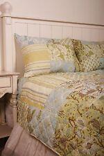 Diamond Quilted Patchwork Jacobean Foulard Cotton Queen Quilt Set