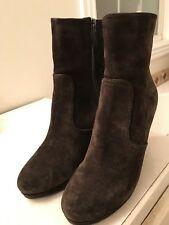 Prada NEW MISMATCH Sizes 38.5 39 Brown Suede Covered Wedge Womens Platform Boots
