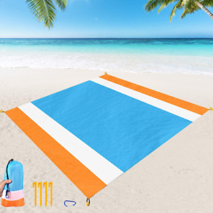"""Beach Blanket Sand Proof, Extra Large Beach Mat Outdoor Picnic Blanket 84"""" x 79"""
