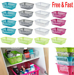 Plastic Basket for Pharmacy School Kitchen Makeup Office Home Organiser Handy