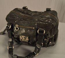Juicy Couture Black Leather Vintage Shoulder Handbag Purse Thick