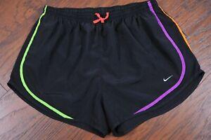 Nike Dri-Fit Tempo Lined Shorts Black Multi Trim Women's XL