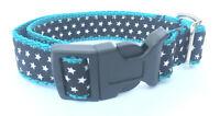 Hunde Halsband in Petrol mit Sterne, XS, Petrol, schwarz/Weiß robust verstellbar
