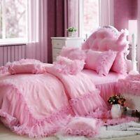 Pink Princess Bedding Set Luxury King Size Bed Cover Set Duvet Bed Skirt Bed