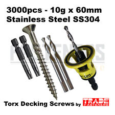 3000pcs - 10g x 60mm Stainless Steel SS304 Torx Decking Screws + Clever Tool