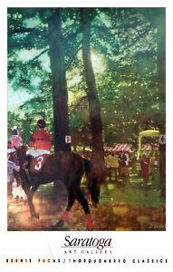 Saratoga Race Track - Rare Vintage Poster (1991) by Bernie Fuchs - The Paddock