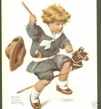 BESSIE PEASE GUTMANN,PLAYING COWBOY,TOY HORSE,POSTCARD