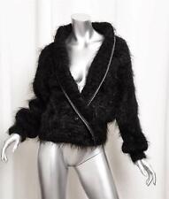 JANET MORGAN Womens Black Knit Long-Sleeve Slouchy Cardigan Sweater Jacket L/XL