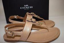 NIB COACH Size 7 Women's Platinum Pearl Patent Leather CASSIDY Ankle Sandal
