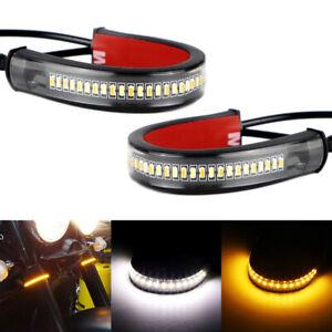 2x White/Amber LED Fork Turn Signal Daytime For Motorcycle DRL Light Strips KTM