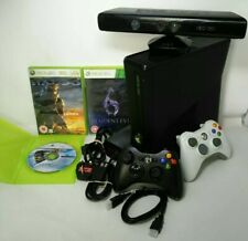Microsoft XBOX 360 Slim Black Console 250Gb HDD + 2 Controllers + Kinect (M-0)