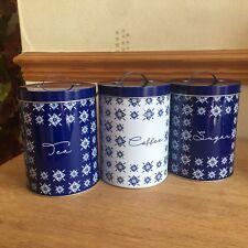 Blue & WHITE RETRO tea coffee sugar tins canisters CAMPING STORAGE JARS