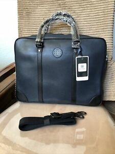 $1850 BOLVAINT PARIS NAVY BLUE THE CABOT  BRIEFCASE BAG THE TRAVEL COLLECTION