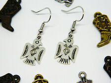 Tone with Antiquing Thunderbird Earrings Silver