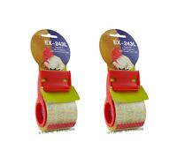 """2 pack 2"""" Plastic Mini Hand Tape Dispenser With 800"""" of 2"""" Crystal Clear Tape"""