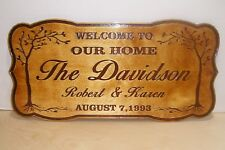 Personalized WOOD Sign Family Name Established.Engraved.Wedding Gift.