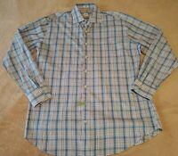 Peter Millar Mens Long sleeve Button Shirt LARGE Cotton Blue Checks with pocket