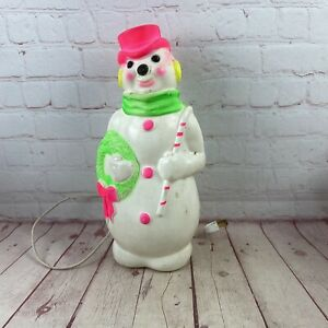 Vintage 1968 Empire Blow Mold Snowman Neon Pink & Green Lights Up Bulb Included