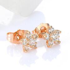 Vintage Womens Flower Rose Gold Plated Crystal Stud Earrings Bridal